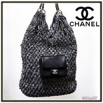 CHANEL Blended Fabrics A4 Chain Plain Leather Elegant Style Totes