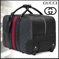 GUCCI GG Supreme Stripes Canvas Blended Fabrics 2WAY Boston Bags