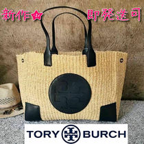 Tory Burch ELLA TOTE Blended Fabrics A4 Plain Leather Straw Bags