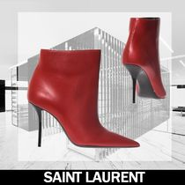 Saint Laurent Leather Pin Heels Elegant Style Ankle & Booties Boots