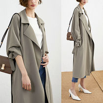 Stand Collar Coats Plain Long Midi Oversized Elegant Style