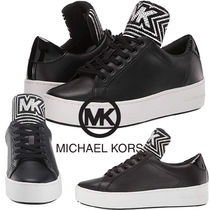 Michael Kors Rubber Sole Lace-up Casual Style Plain Leather With Jewels