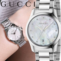 GUCCI Round Quartz Watches Stainless Office Style Analog Watches