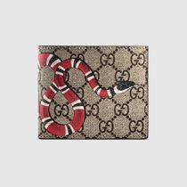 GUCCI GG Supreme Unisex Leather Python Folding Wallets