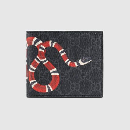 GUCCI Folding Wallets Unisex Leather Python Folding Wallets