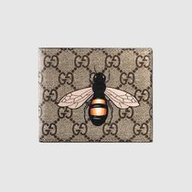 GUCCI GG Supreme Unisex Other Animal Patterns Leather Folding Wallets
