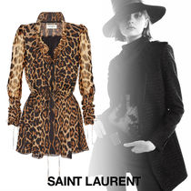 Saint Laurent Short Leopard Patterns Silk V-Neck Long Sleeves Dresses