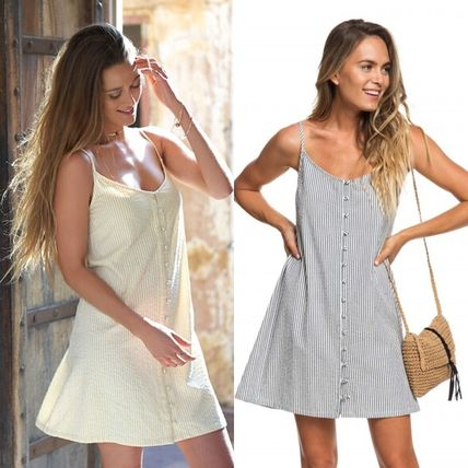 Short Stripes Casual Style A-line Sleeveless Cotton Dresses