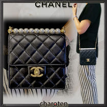 CHANEL ICON Lambskin Blended Fabrics Chain Plain Elegant Style