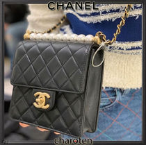 CHANEL ICON Lambskin Blended Fabrics Chain Plain Elegant Style Crossbody