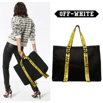 Off-White Casual Style Unisex Canvas Street Style A4 Totes