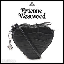 Vivienne Westwood Heart Casual Style Unisex Leather Shoulder Bags