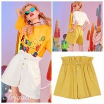 ELF SACK Short Casual Style Street Style Plain Cotton With Jewels