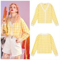ELF SACK Gingham Casual Style Long Sleeves Cotton Medium With Jewels