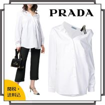 PRADA Casual Style Blended Fabrics Bi-color Long Sleeves Plain