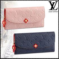 Louis Vuitton PORTEFEUILLE EMILIE Monogram Studded Bi-color Leather Long Wallets