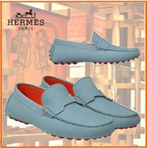HERMES Driving Shoes Blended Fabrics Bi-color Leather