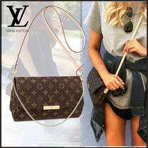 Louis Vuitton DAMIER GRAPHITE Monogram 2WAY Chain Leather Elegant Style Shoulder Bags