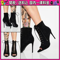 DOLLS KILL Open Toe Lace-up Casual Style Plain Pin Heels Lace-up Boots