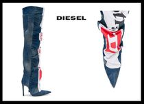DIESEL Street Style Plain Leather Pin Heels Over-the-Knee Boots