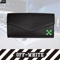 Off-White Plain Leather Handmade Long Wallets