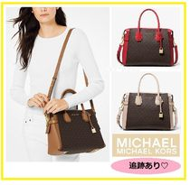Michael Kors MERCER Monogram Blended Fabrics 2WAY Bi-color Leather Elegant Style