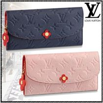 Louis Vuitton PORTEFEUILLE EMILIE Flower Patterns Monogram Blended Fabrics Studded Leather