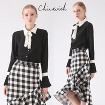 Chicwish Chiffon Long Sleeves Plain Medium With Jewels Elegant Style