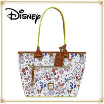 Disney Flower Patterns Casual Style Collaboration Leather Totes