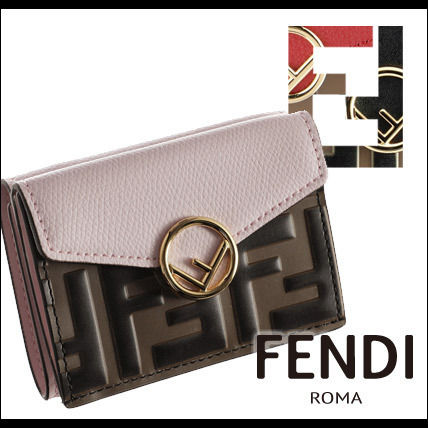 FENDI Folding Wallets Monogram Leather Folding Wallets