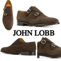 John Lobb WILLIAM Straight Tip Moccasin Suede Plain Loafers & Slip-ons