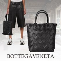 BOTTEGA VENETA Other Check Patterns Unisex A4 Leather Totes