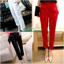 Casual Style Plain Long Cropped & Capris Pants