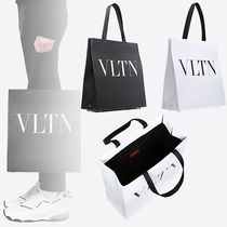VALENTINO Unisex Calfskin Street Style A4 Totes