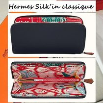 HERMES Silk In Calfskin Handmade Long Wallets