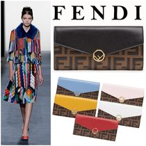 FENDI Monogram Unisex Street Style Leather Long Wallets