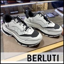 Berluti Blended Fabrics Street Style Plain Leather Sneakers