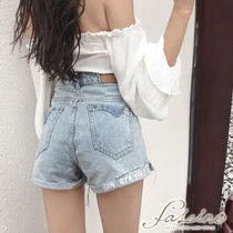 Short Casual Style Denim Plain Oversized