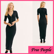 Free People Casual Style Tight V-Neck Cotton Long Short Sleeves Midi