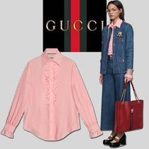 GUCCI Silk Plain Medium Party Style Home Party Ideas Puff Sleeves