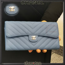 CHANEL TIMELESS CLASSICS Unisex Calfskin Plain Long Wallets