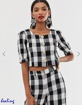 ASOS Gingham Casual Style Cotton Short Sleeves Shirts & Blouses