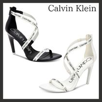 Calvin Klein Open Toe Leather Pin Heels Elegant Style Heeled Sandals