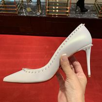 Christian Louboutin Plain Leather Pin Heels Elegant Style Pumps & Mules