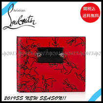Christian Louboutin Unisex Blended Fabrics Plain Leather Folding Wallets