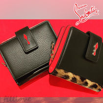 Christian Louboutin Paloma Leopard Patterns Calfskin Plain Folding Wallets