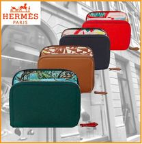 HERMES Silk In Unisex Street Style Plain Leather Folding Wallets