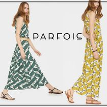 PARFOIS Casual Style A-line Sleeveless V-Neck Long Dresses