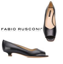 FABIO RUSCONI Open Toe Casual Style Plain Leather Peep Toe Pumps & Mules
