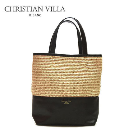 Casual Style Blended Fabrics A4 2WAY Plain Leather Totes